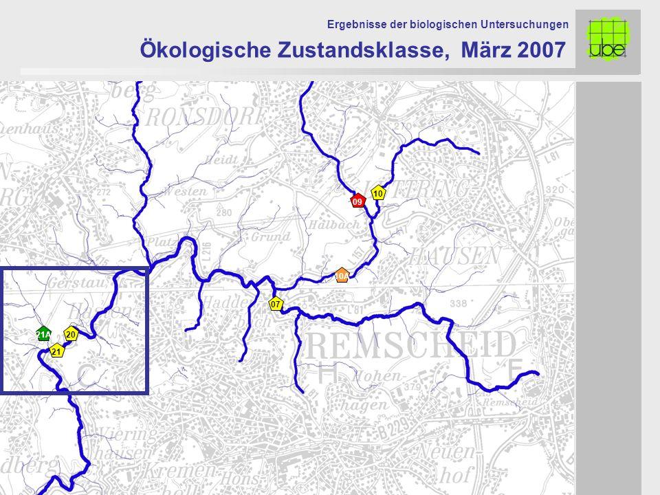Ökologische Zustandsklasse, März 2007 Ergebnisse der biologischen Untersuchungen 21A 09 10 10A 21 20 07
