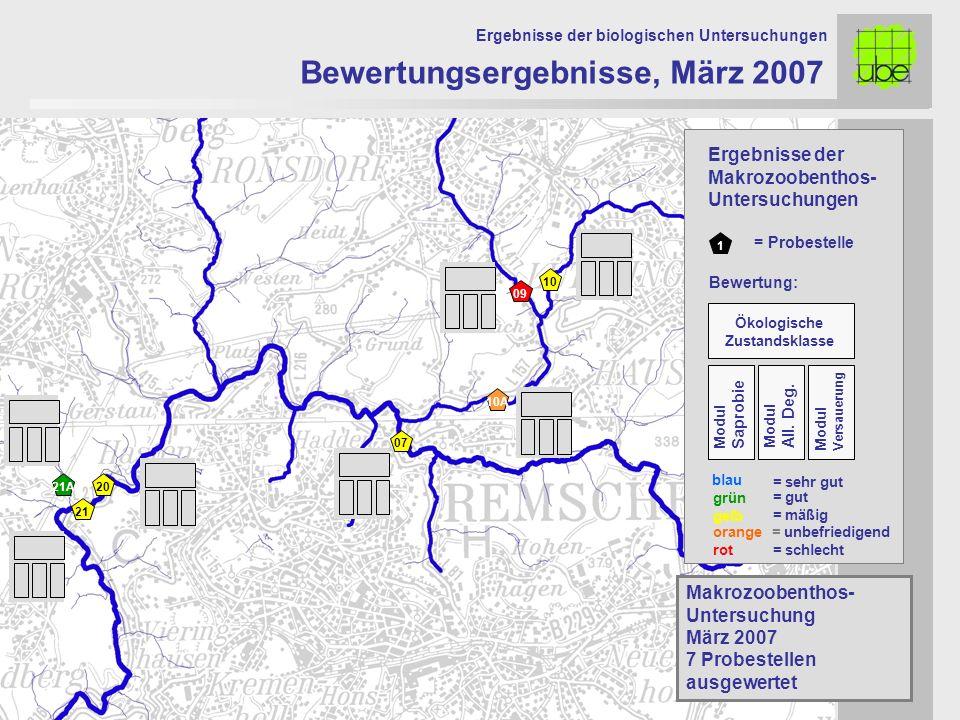 21 20 09 10 10A 07 Bewertungsergebnisse, März 2007 Ergebnisse der biologischen Untersuchungen 21A Makrozoobenthos- Untersuchung März 2007 7 Probestell