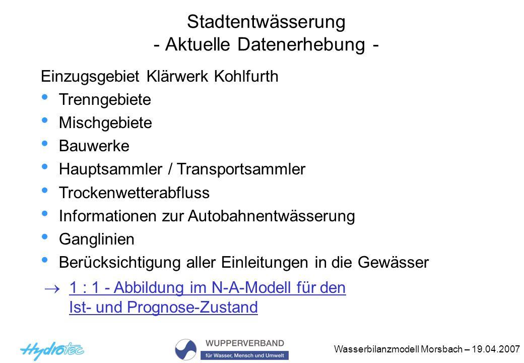 Wasserbilanzmodell Morsbach – 19.04.2007 Stadtentwässerung - Aktuelle Datenerhebung - Einzugsgebiet Klärwerk Kohlfurth Trenngebiete Mischgebiete Bauwe
