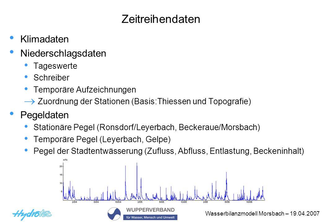 Wasserbilanzmodell Morsbach – 19.04.2007 Zeitreihendaten Klimadaten Niederschlagsdaten Tageswerte Schreiber Temporäre Aufzeichnungen Zuordnung der Sta