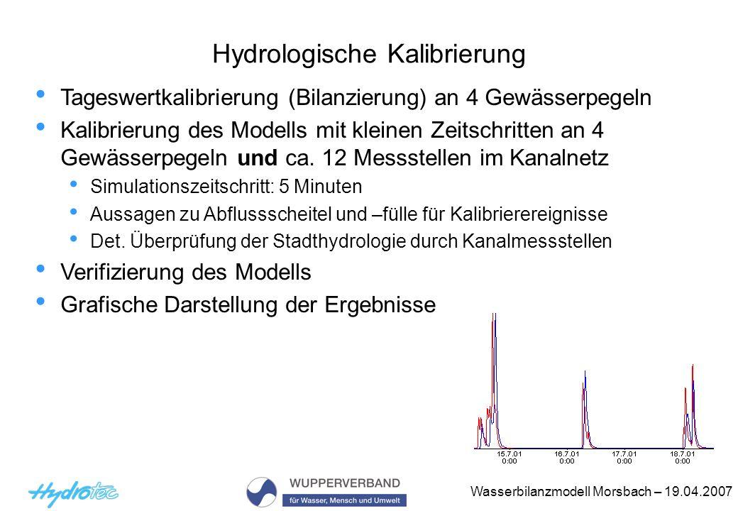 Wasserbilanzmodell Morsbach – 19.04.2007 Hydrologische Kalibrierung Tageswertkalibrierung (Bilanzierung) an 4 Gewässerpegeln Kalibrierung des Modells