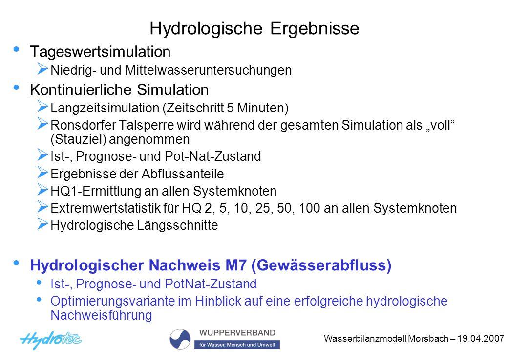 Wasserbilanzmodell Morsbach – 19.04.2007 Hydrologische Ergebnisse Tageswertsimulation Niedrig- und Mittelwasseruntersuchungen Kontinuierliche Simulati