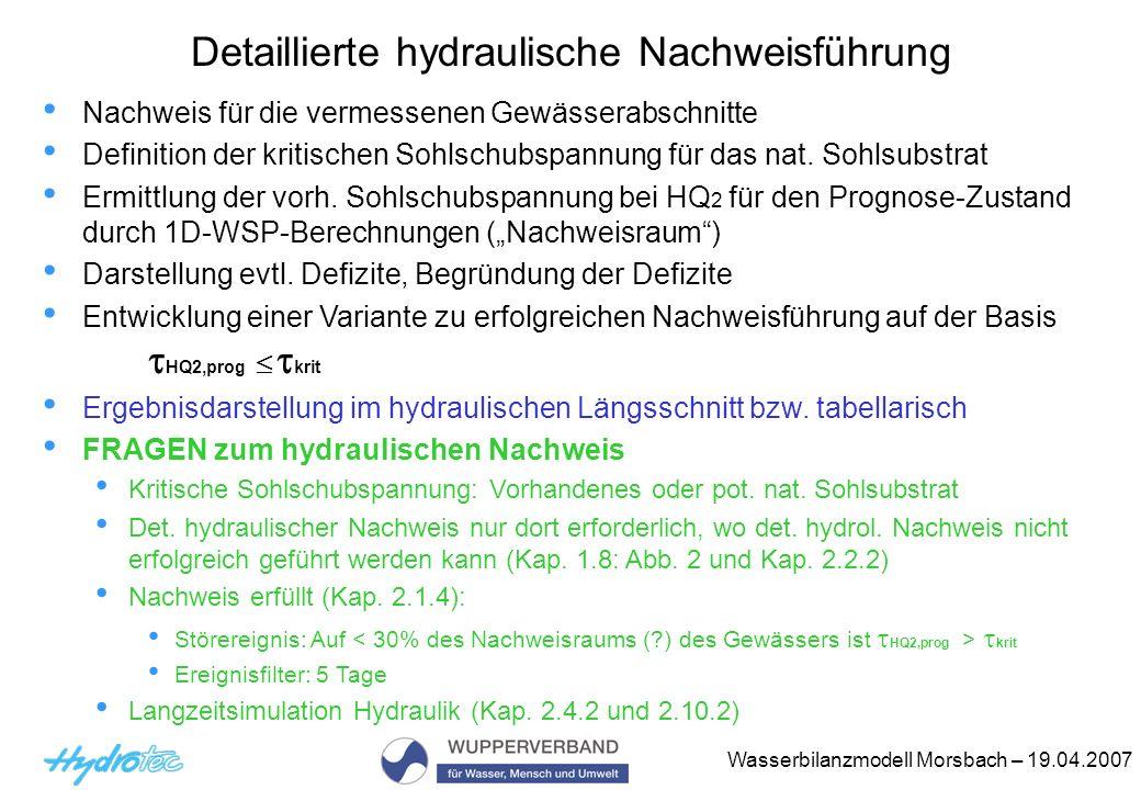 Wasserbilanzmodell Morsbach – 19.04.2007 Nachweis für die vermessenen Gewässerabschnitte Definition der kritischen Sohlschubspannung für das nat. Sohl