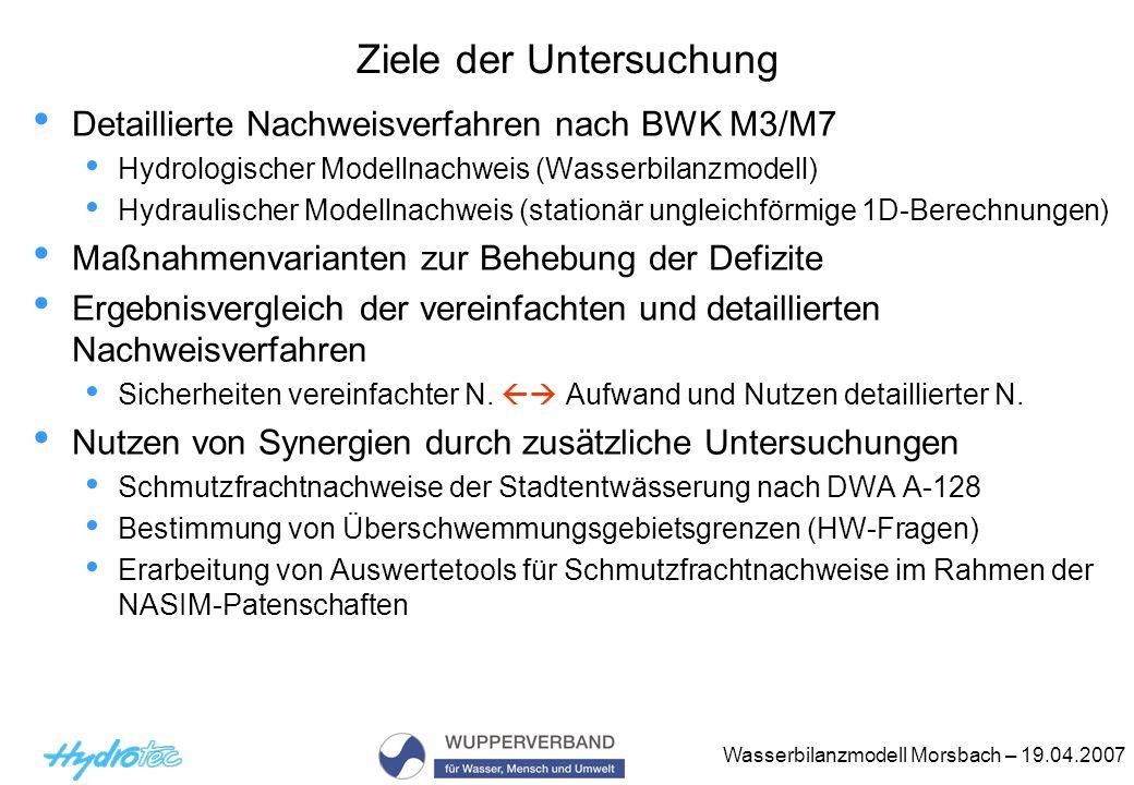 Wasserbilanzmodell Morsbach – 19.04.2007 Ziele der Untersuchung Detaillierte Nachweisverfahren nach BWK M3/M7 Hydrologischer Modellnachweis (Wasserbil