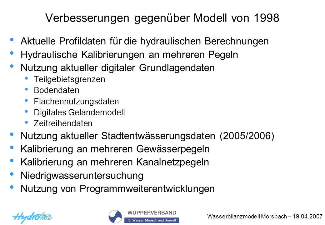 Wasserbilanzmodell Morsbach – 19.04.2007 Verbesserungen gegenüber Modell von 1998 Aktuelle Profildaten für die hydraulischen Berechnungen Hydraulische