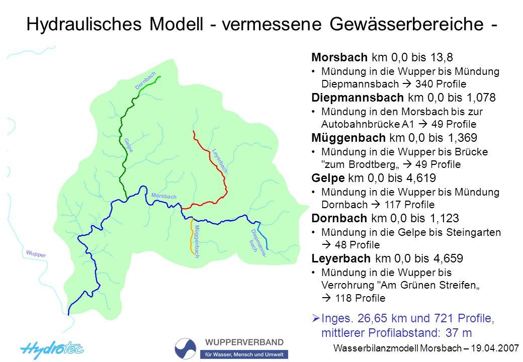 Wasserbilanzmodell Morsbach – 19.04.2007 Erstellung des hydraulischen Modells Übernahme der vorhandenen Modelle (Programm Jabron, Version 6.4) Prüfung Sind Profilnachvermessungen erforderlich.