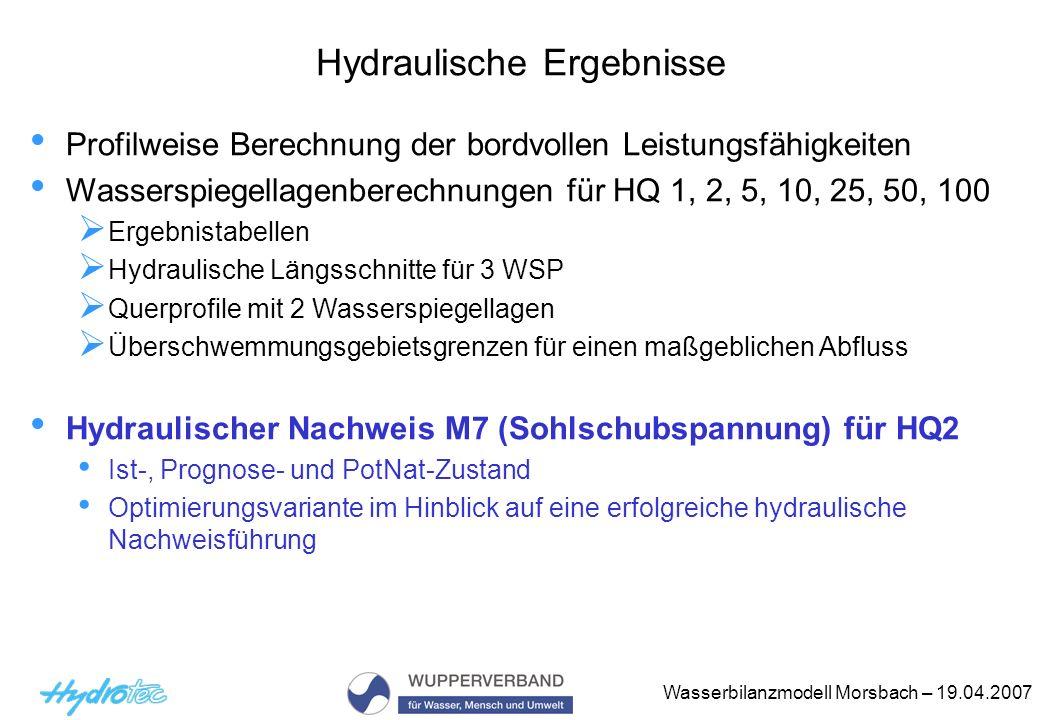 Wasserbilanzmodell Morsbach – 19.04.2007 Hydraulische Ergebnisse Profilweise Berechnung der bordvollen Leistungsfähigkeiten Wasserspiegellagenberechnu