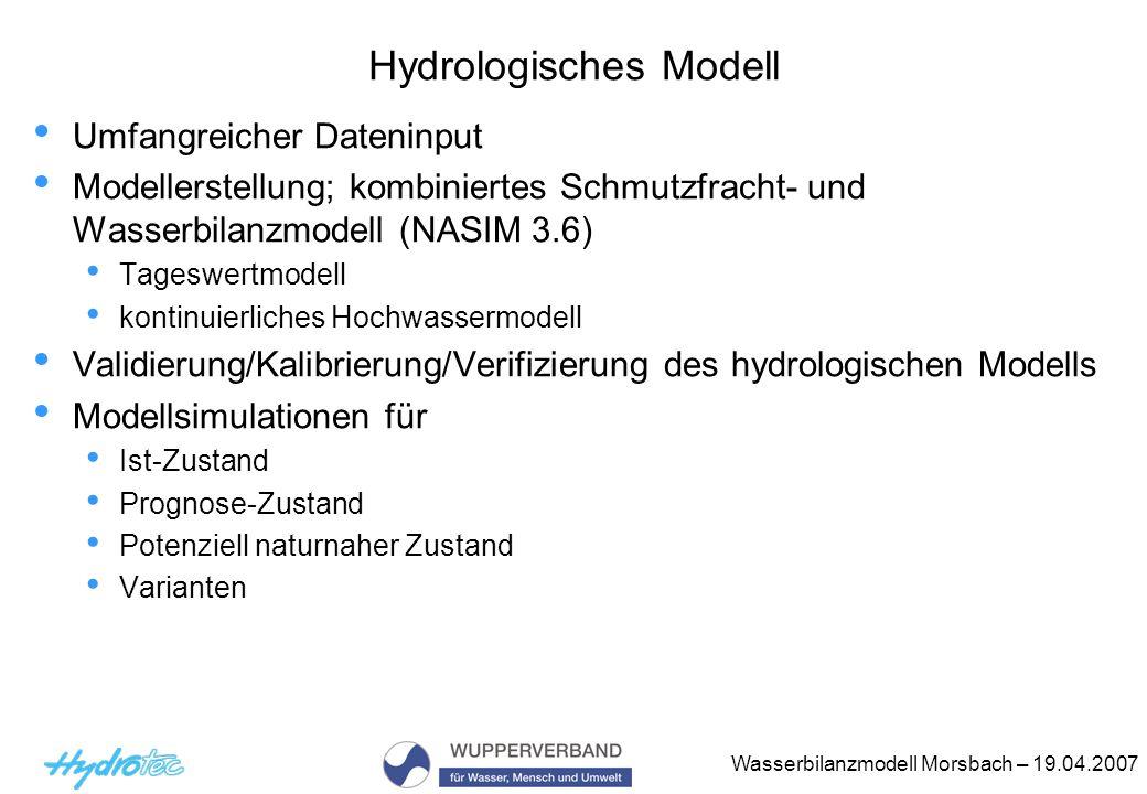 Wasserbilanzmodell Morsbach – 19.04.2007 Hydrologisches Modell Umfangreicher Dateninput Modellerstellung; kombiniertes Schmutzfracht- und Wasserbilanz
