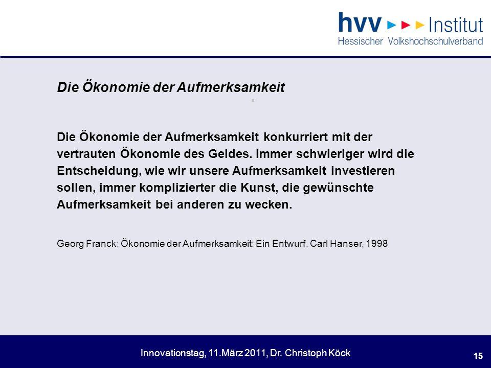 Innovationstag, 11.März 2011, Dr.Christoph Köck 15.