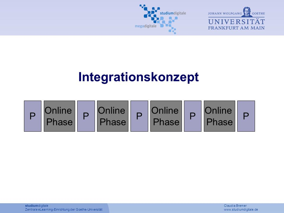 P Online Phase P Online Phase P Online Phase P Online Phase P Integrationskonzept studiumdigitale Claudia Bremer Zentrale eLearning-Einrichtung der Go