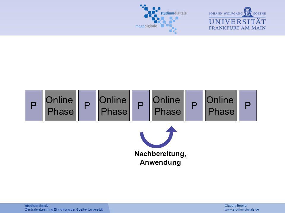 P Online Phase P Online Phase P Online Phase P Online Phase P studiumdigitale Claudia Bremer Zentrale eLearning-Einrichtung der Goethe-Universität www.studiumdigitale.de Nachbereitung, Anwendung