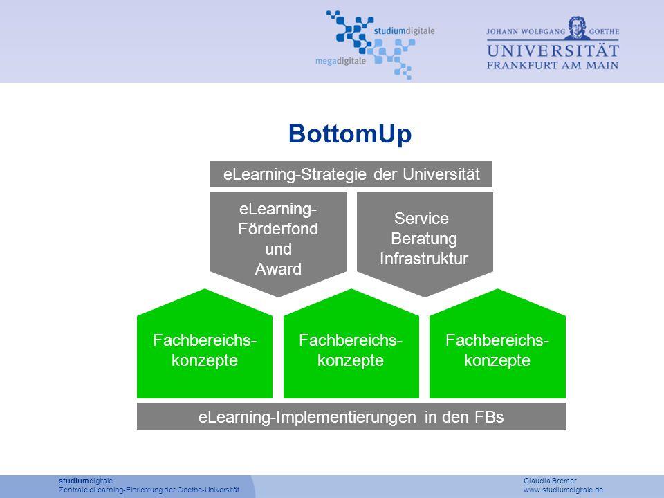 BottomUp eLearning- Förderfond und Award Service Beratung Infrastruktur eLearning-Strategie der Universität Fachbereichs- konzepte Fachbereichs- konze