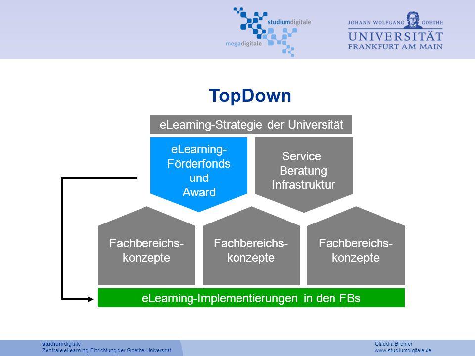 TopDown eLearning- Förderfonds und Award Service Beratung Infrastruktur eLearning-Strategie der Universität Fachbereichs- konzepte Fachbereichs- konze