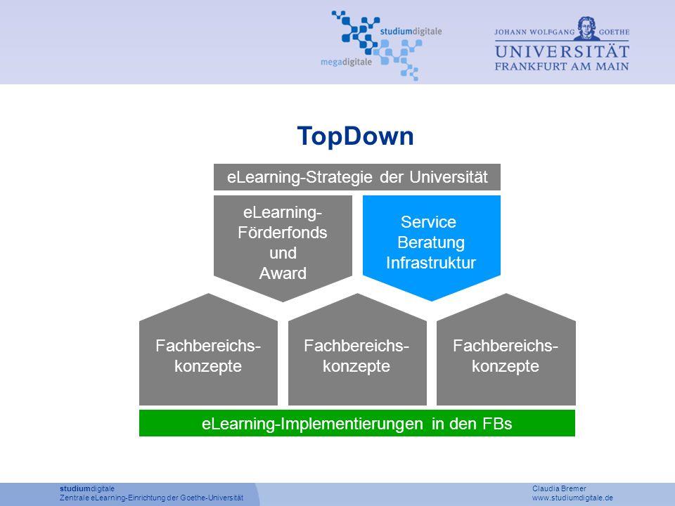 studiumdigitale Claudia Bremer Zentrale eLearning-Einrichtung der Goethe-Universität www.studiumdigitale.de TopDown eLearning- Förderfonds und Award S