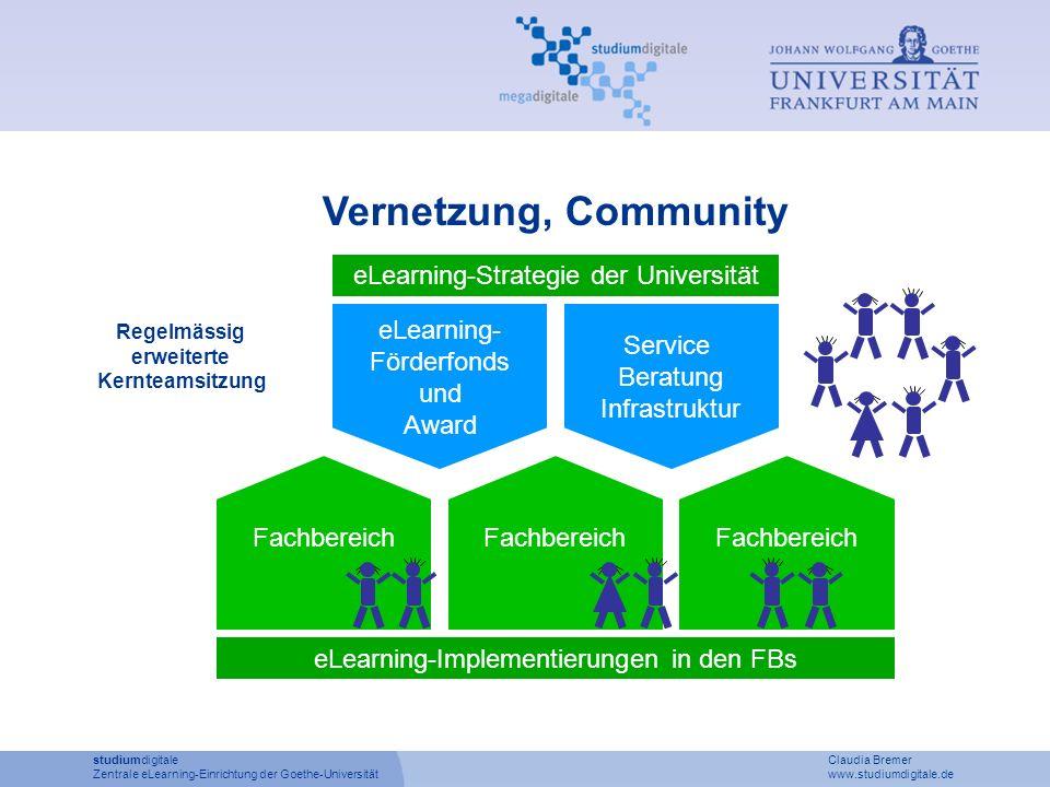 studiumdigitale Claudia Bremer Zentrale eLearning-Einrichtung der Goethe-Universität www.studiumdigitale.de Vernetzung, Community eLearning- Förderfon