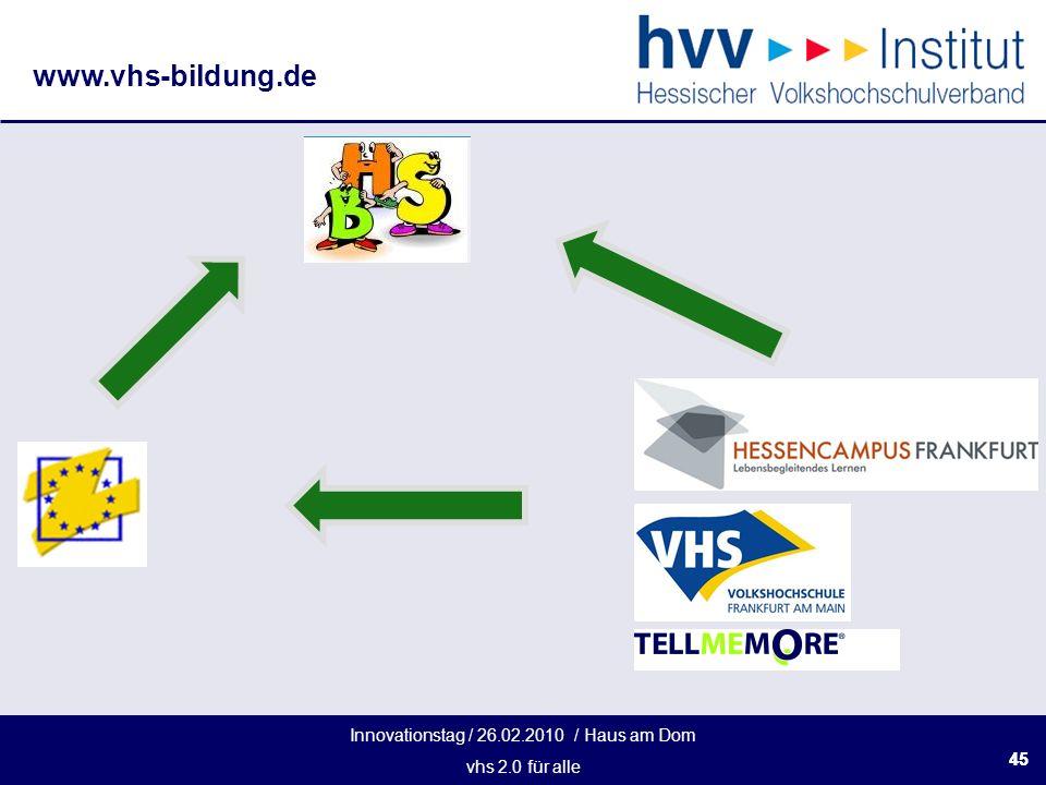 Innovationstag / 26.02.2010 / Haus am Dom vhs 2.0 für alle www.vhs-bildung.de 45