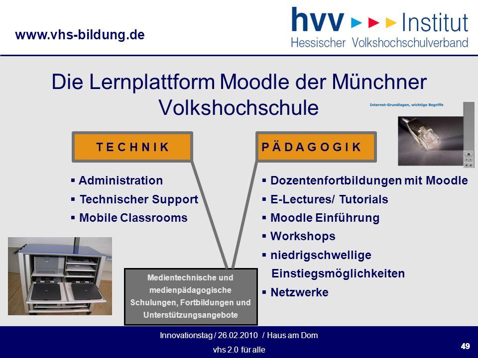 Innovationstag / 26.02.2010 / Haus am Dom vhs 2.0 für alle www.vhs-bildung.de 49 Die Lernplattform Moodle der Münchner Volkshochschule T E C H N I KP