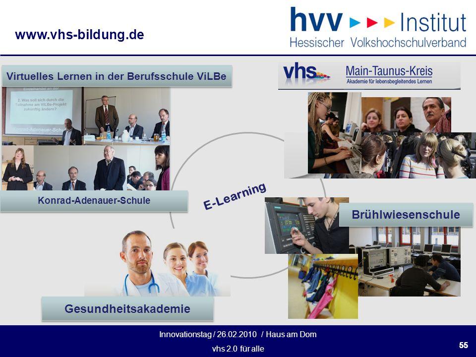 Innovationstag / 26.02.2010 / Haus am Dom vhs 2.0 für alle www.vhs-bildung.de 55 Konrad-Adenauer-Schule Virtuelles Lernen in der Berufsschule ViLBe E-Learning Brühlwiesenschule Gesundheitsakademie