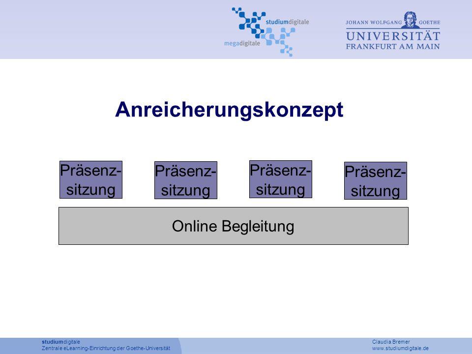 studiumdigitale Claudia Bremer Zentrale eLearning-Einrichtung der Goethe-Universität www.studiumdigitale.de Präsenz- sitzung Online Begleitung Präsenz- sitzung Präsenz- sitzung Präsenz- sitzung Anreicherungskonzept