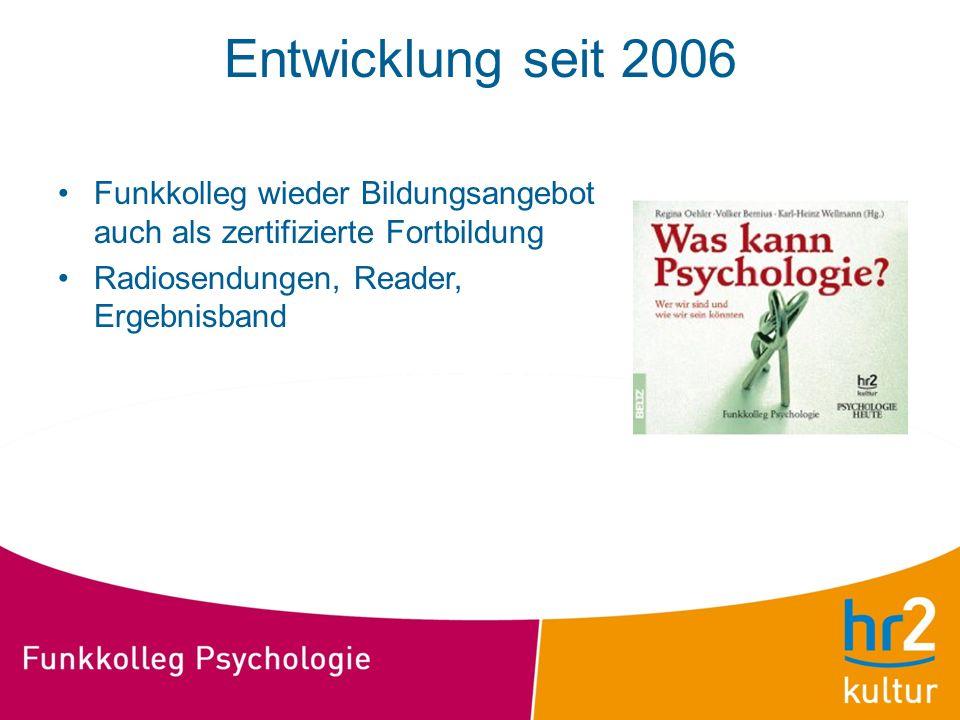Entwicklung seit 2006 Funkkolleg wieder Bildungsangebot auch als zertifizierte Fortbildung Radiosendungen, Reader, Ergebnisband