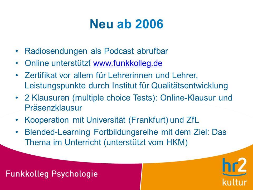 Neu ab 2006 Radiosendungen als Podcast abrufbar Online unterstützt www.funkkolleg.dewww.funkkolleg.de Zertifikat vor allem für Lehrerinnen und Lehrer,