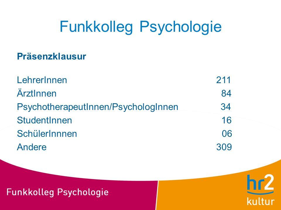Funkkolleg Psychologie Präsenzklausur LehrerInnen 211 ÄrztInnen 84 PsychotherapeutInnen/PsychologInnen 34 StudentInnen 16 SchülerInnnen 06 Andere 309