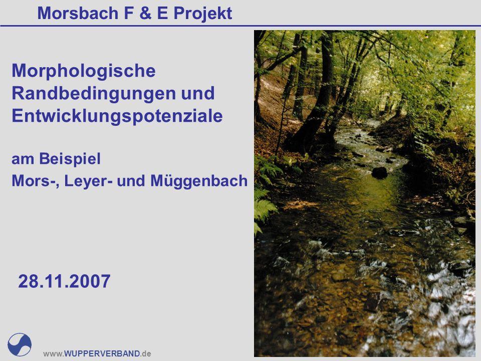 www.WUPPERVERBAND.de Morphologische Randbedingungen und Entwicklungspotenziale am Beispiel Mors-, Leyer- und Müggenbach Morsbach F & E Projekt 28.11.2007