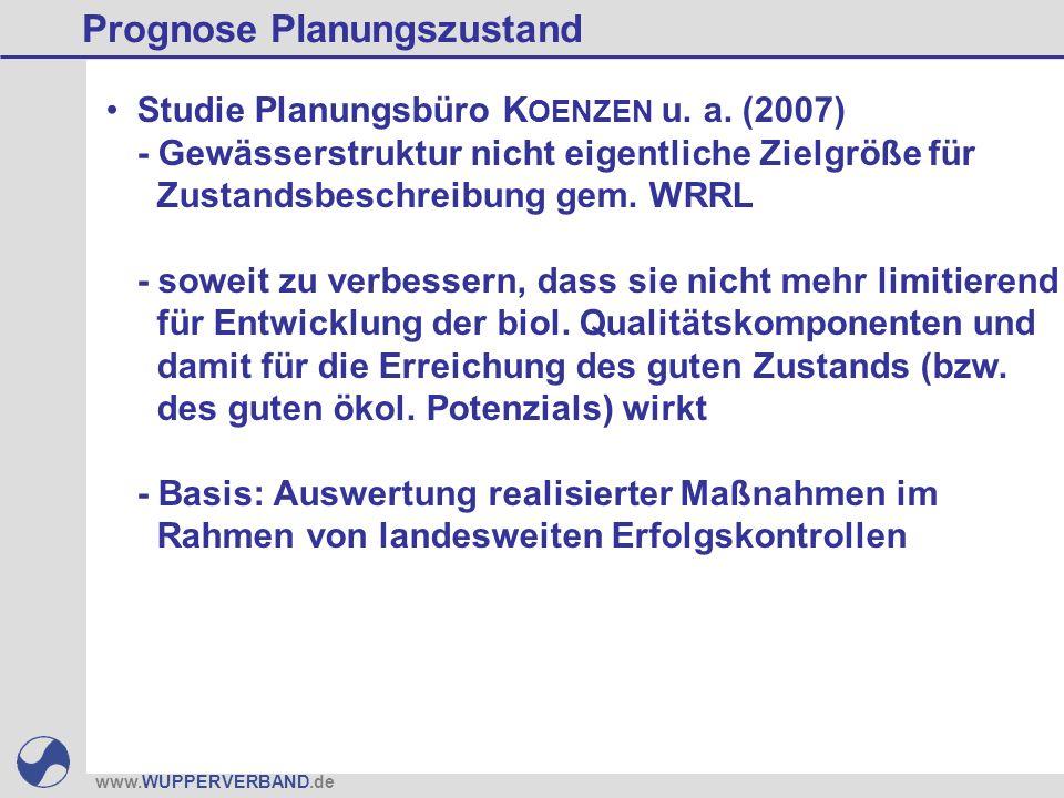 www.WUPPERVERBAND.de Prognose Planungszustand Studie Planungsbüro K OENZEN u. a. (2007) - Gewässerstruktur nicht eigentliche Zielgröße für Zustandsbes