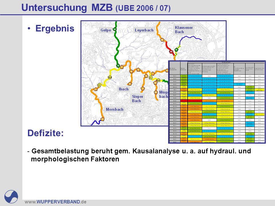 www.WUPPERVERBAND.de Untersuchung MZB (UBE 2006 / 07) Defizite: - Gesamtbelastung beruht gem. Kausalanalyse u. a. auf hydraul. und morphologischen Fak