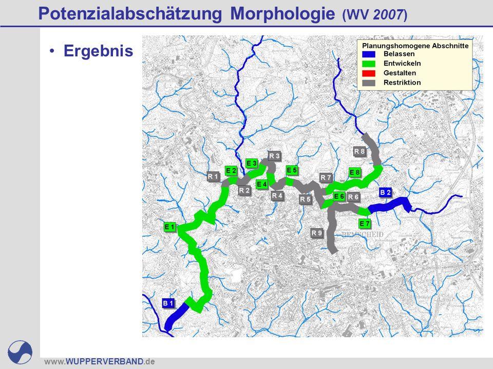 www.WUPPERVERBAND.de Potenzialabschätzung Morphologie (WV 2007) Ergebnis