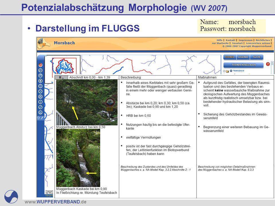 www.WUPPERVERBAND.de Potenzialabschätzung Morphologie (WV 2007) Darstellung im FLUGGS Name: morsbach Passwort: morsbach