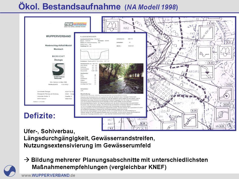 www.WUPPERVERBAND.de Ökol. Bestandsaufnahme (NA Modell 1998) Defizite: Ufer-, Sohlverbau, Längsdurchgängigkeit, Gewässerrandstreifen, Nutzungsextensiv
