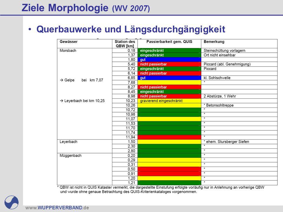 www.WUPPERVERBAND.de Ziele Morphologie (WV 2007) Querbauwerke und Längsdurchgängigkeit
