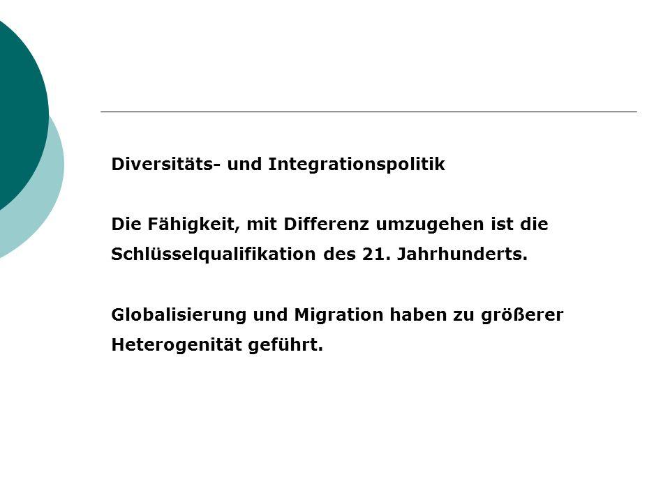 Diversitäts- und Integrationspolitik Die Fähigkeit, mit Differenz umzugehen ist die Schlüsselqualifikation des 21. Jahrhunderts. Globalisierung und Mi
