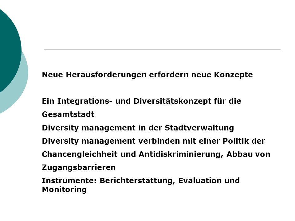 Neue Herausforderungen erfordern neue Konzepte Ein Integrations- und Diversitätskonzept für die Gesamtstadt Diversity management in der Stadtverwaltung Diversity management verbinden mit einer Politik der Chancengleichheit und Antidiskriminierung, Abbau von Zugangsbarrieren Instrumente: Berichterstattung, Evaluation und Monitoring