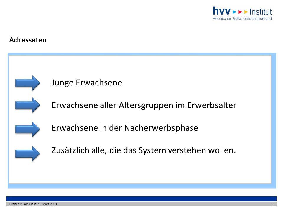 Adressaten Frankfurt am Main 11.März 20119 Junge Erwachsene Erwachsene aller Altersgruppen im Erwerbsalter Erwachsene in der Nacherwerbsphase Zusätzlich alle, die das System verstehen wollen.