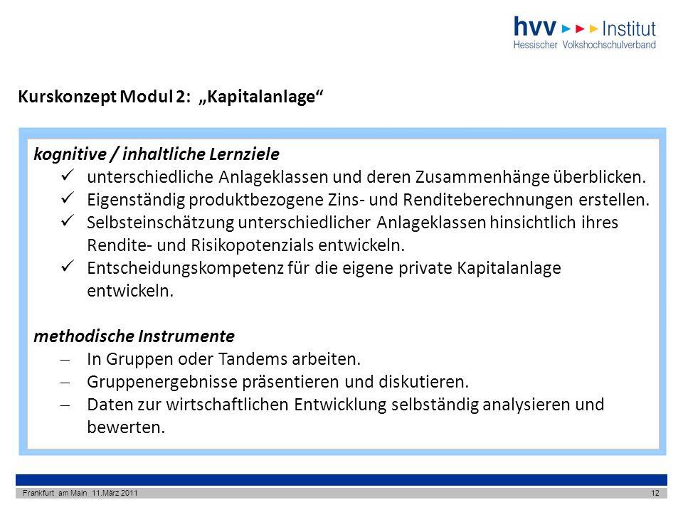 Kurskonzept Modul 2: Kapitalanlage Frankfurt am Main 11.März 201112 kognitive / inhaltliche Lernziele unterschiedliche Anlageklassen und deren Zusammenhänge überblicken.