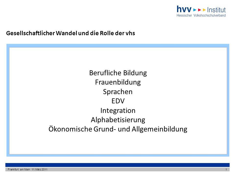 Gesellschaftlicher Wandel und die Rolle der vhs Frankfurt am Main 11.März 20111 Berufliche Bildung Frauenbildung Sprachen EDV Integration Alphabetisierung Ökonomische Grund- und Allgemeinbildung