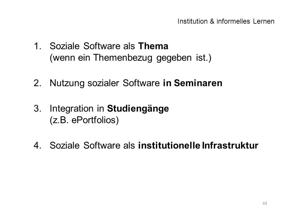 1.Soziale Software als Thema (wenn ein Themenbezug gegeben ist.) 2.Nutzung sozialer Software in Seminaren 3.Integration in Studiengänge (z.B.