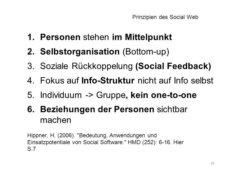 45 1.Personen stehen im Mittelpunkt 2.Selbstorganisation (Bottom-up) 3.Soziale Rückkoppelung (Social Feedback) 4.Fokus auf Info-Struktur nicht auf Info selbst 5.Individuum -> Gruppe, kein one-to-one 6.Beziehungen der Personen sichtbar machen Hippner, H.