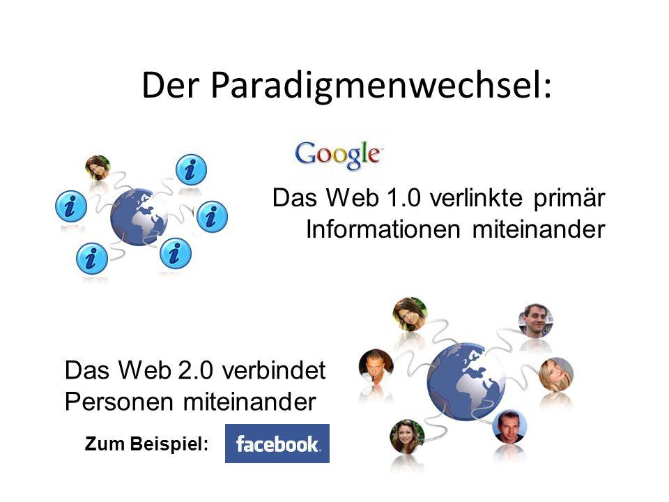 Der Paradigmenwechsel: Das Web 1.0 verlinkte primär Informationen miteinander Das Web 2.0 verbindet Personen miteinander Zum Beispiel: