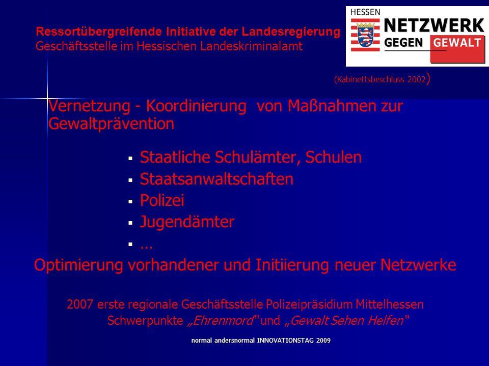 normal andersnormal INNOVATIONSTAG 2009 Vernetzung - Koordinierung von Maßnahmen zur Gewaltprävention Staatliche Schulämter, Schulen Staatsanwaltschaf