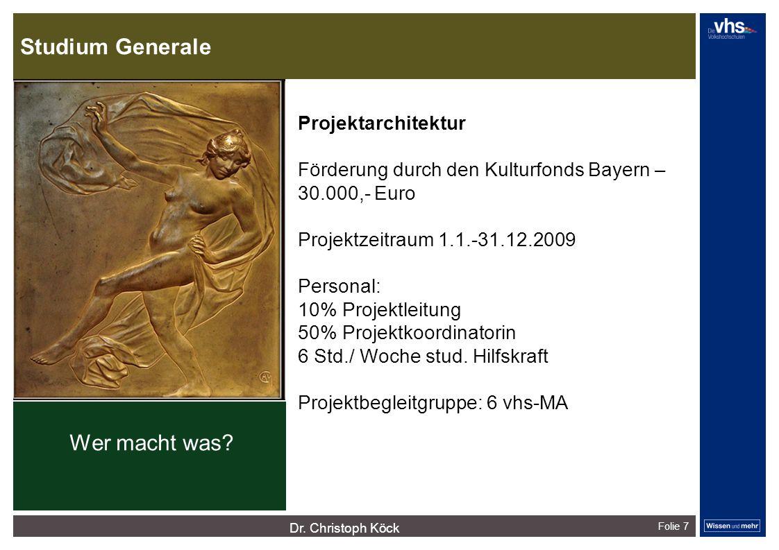 Studium Generale Folie 7 Projektarchitektur Förderung durch den Kulturfonds Bayern – 30.000,- Euro Projektzeitraum 1.1.-31.12.2009 Personal: 10% Proje