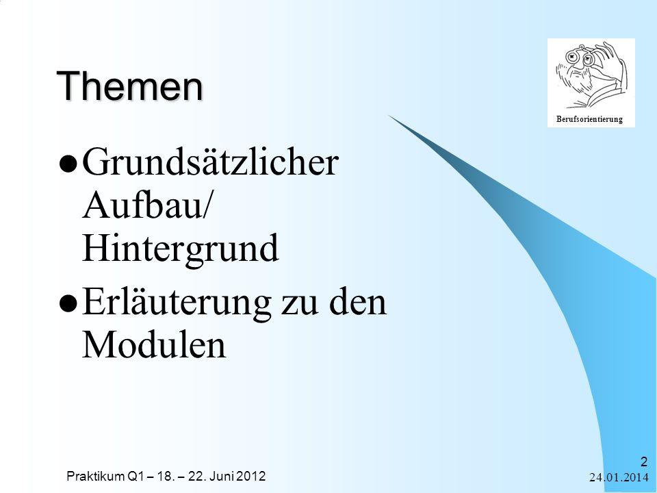 Praktikum Q1 – 18. – 22. Juni 2012 Berufsorientierung 24.01.2014 2 Themen Grundsätzlicher Aufbau/ Hintergrund Erläuterung zu den Modulen