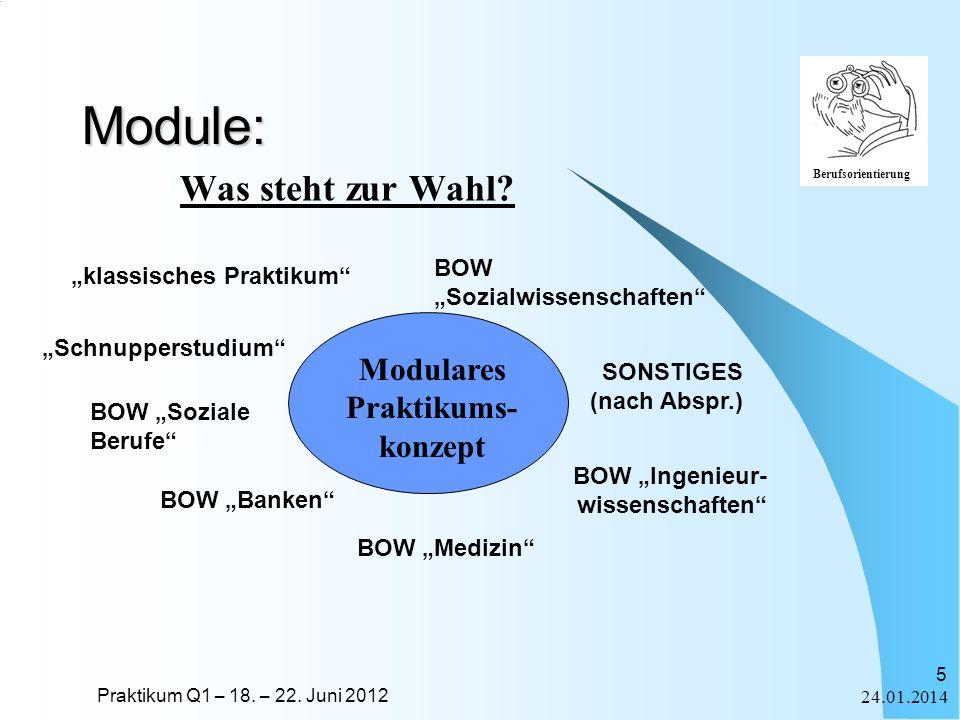 Praktikum Q1 – 18. – 22. Juni 2012 Berufsorientierung 24.01.2014 5 klassisches Praktikum BOW Ingenieur- wissenschaften BOW Medizin Module: Was steht z