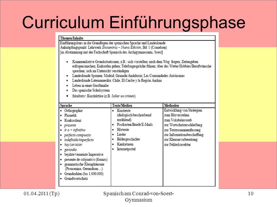 01.04.2011 (Tp)Spanisch am Conrad-von-Soest- Gymnasium 10 Curriculum Einführungsphase