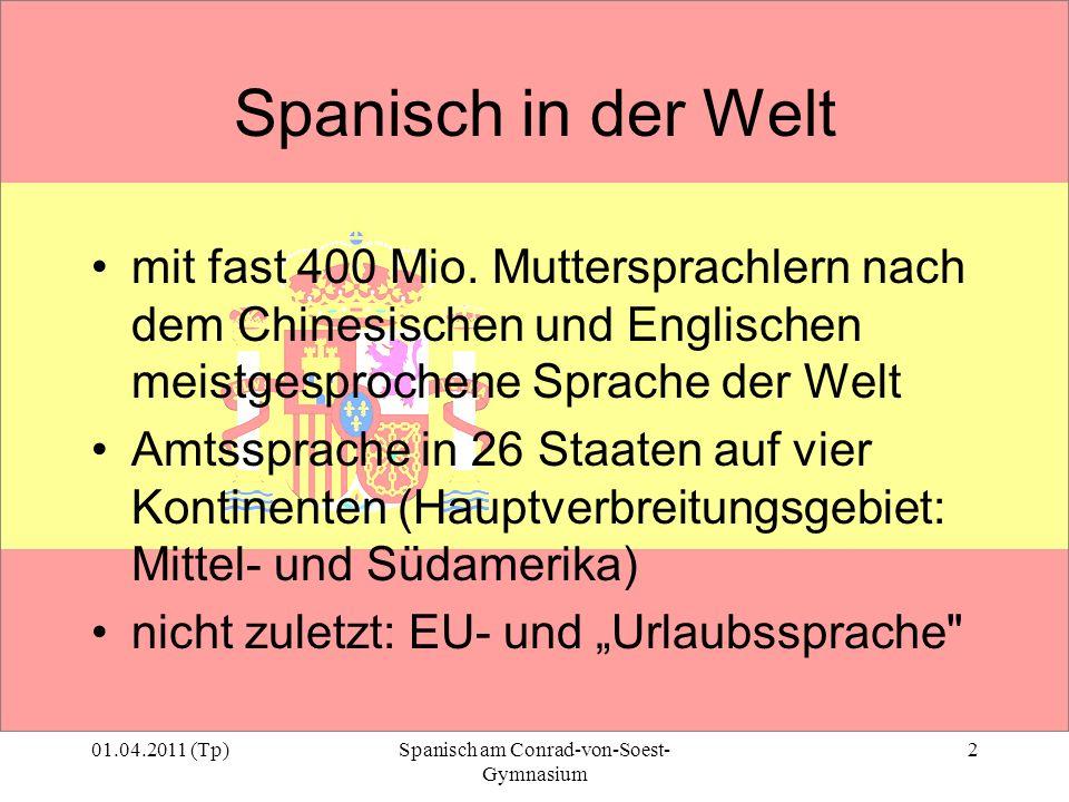 01.04.2011 (Tp)Spanisch am Conrad-von-Soest- Gymnasium 2 Spanisch in der Welt mit fast 400 Mio. Muttersprachlern nach dem Chinesischen und Englischen