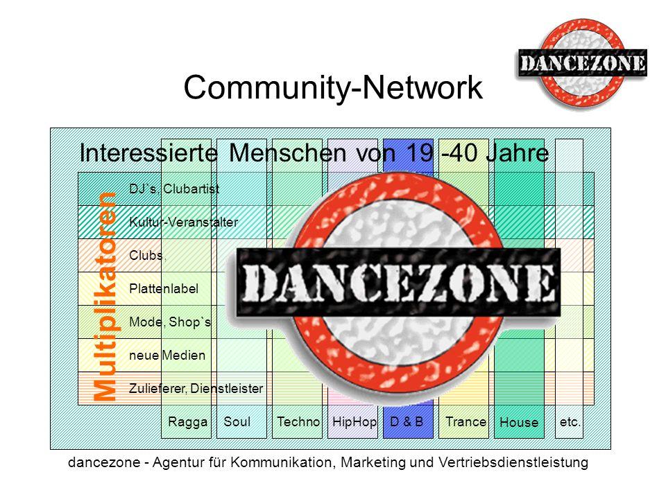 dancezone - Agentur für Kommunikation, Marketing und Vertriebsdienstleistung Clubs, Multiplikatoren Community-Network House TranceD & B HipHop Techno