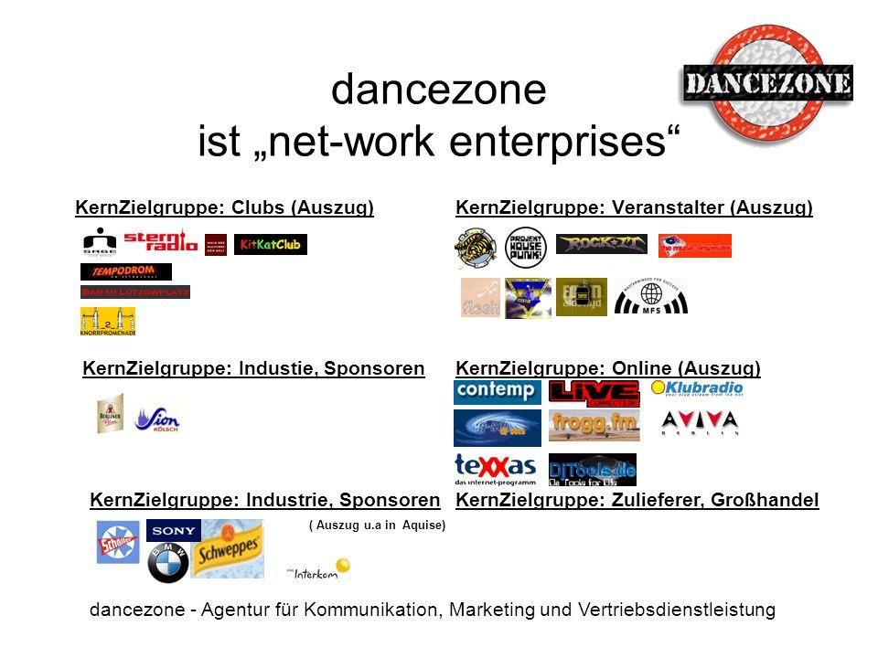 dancezone ist net-work enterprises dancezone - Agentur für Kommunikation, Marketing und Vertriebsdienstleistung KernZielgruppe: Clubs (Auszug)KernZiel