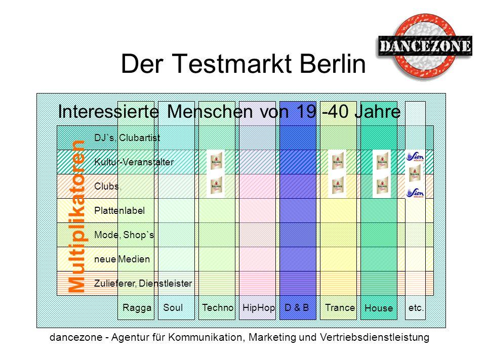 dancezone - Agentur für Kommunikation, Marketing und Vertriebsdienstleistung Clubs, Multiplikatoren Der Testmarkt Berlin House TranceD & B HipHop Tech